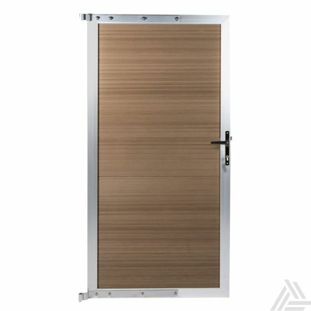 Tuindeur bruin composiet super sterk met deurbeslag